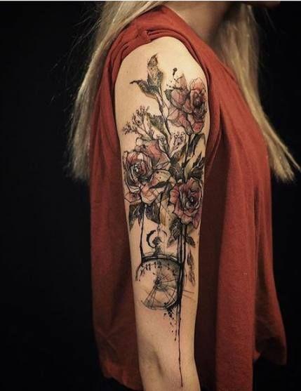 53 Ideen für Tattoo Frauen Rose Oberarm   – + TATTOO`S +