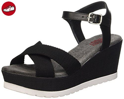 Shoot Shoot Shoes SH-160181B Damen Sommer Keil Leder Sandale Plateau Schuhe, Damen Plateau Sandalen, Schwarz (black), 39 EU - Sandalen für frauen (*Partner-Link)