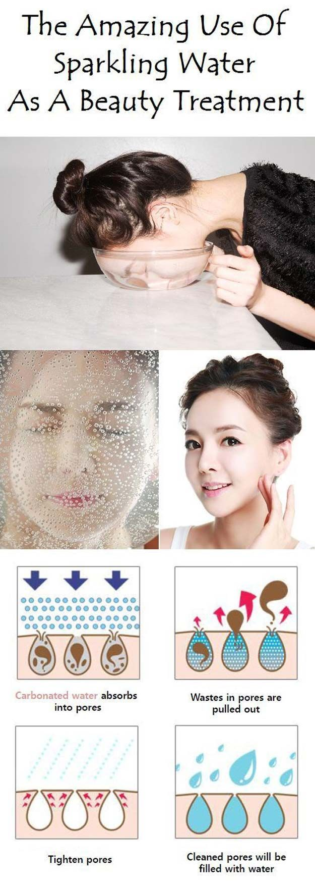 Best Beauty Hacks - Wash Face with Sparkling Water - Easy Makeup Tutorials and Makeup Ideas for Teens, Beginners, Women, Teenagers - Cool Tips and Tricks for Mascara, Lipstick, Foundation, Hair, Blush, Eyeshadow, Eyebrows and Eyes - Step by Step Tutorials and How To http://diyprojectsforteens.com/best-beauty-hacks