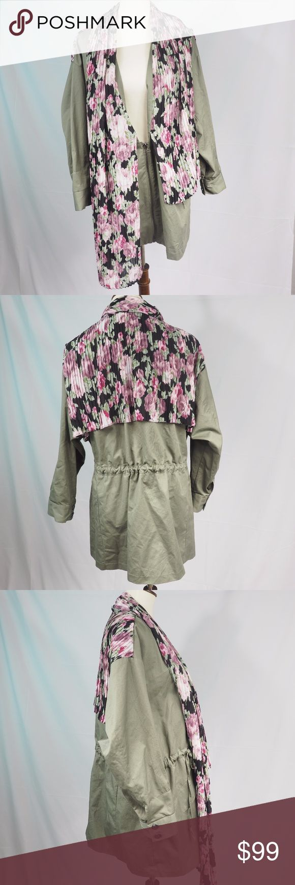 """TOV Holy Army Green Coat With Floral Scarf Size 8 Hello! Up for sale is this TOV Jacket With Connected Scarf in size 40 or US 8-10 in nearly new pre-loved condition. Please view all photos and measurements to ensure your perfect fit before purchase. Please let me know if you have any questions! :)   - Appears to be an over sized fit - check measurements.   Measurements Shoulder-Shoulder - 22"""" Top-Bottom - 27.5"""" Underarm-Underarm - 25"""" Sleeve- 19"""" TOV Holy Jackets & Coats Trench Coats"""