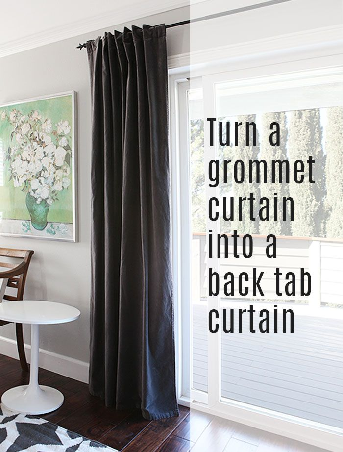 How to: turn a grommet-top curtain into a back tab curtain DIY tutorial