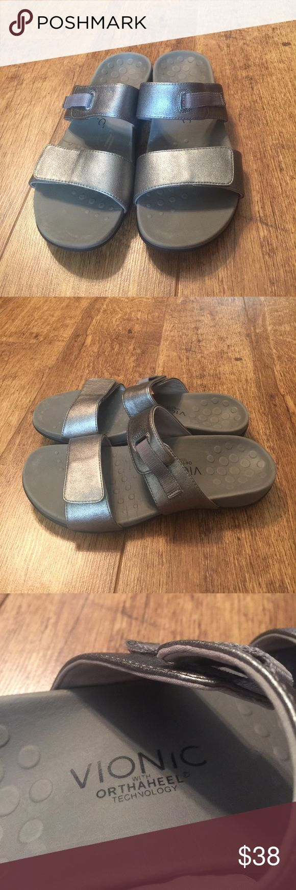 Vionic diver orthaheel silver sandals Slip on  with Velcro fastener, worn once Vionic Shoes Sandals