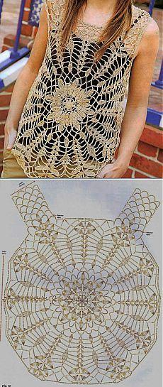 Camiseta em ponto vazado e florido em crochê com tutorial