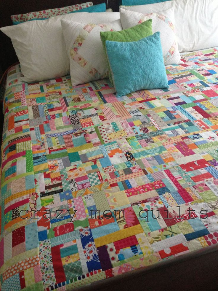 crazy mom quilts:  slab quilt- love the scrappy design