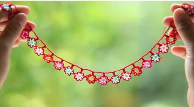 crochet flower garland with beads, video tutorial - crafts ideas - crafts for kids