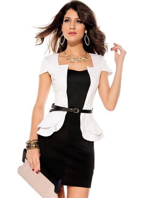 Черно-белое платье для молодого руководителя.