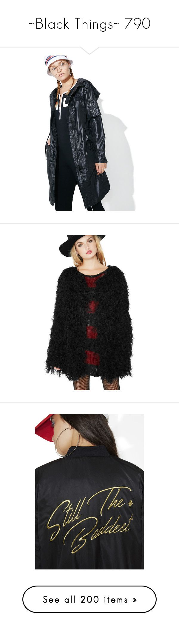 """""""~Black Things~ 790"""" by my-shiny-shackles ❤ liked on Polyvore featuring black, outerwear, coats, long coat, checkered coat, long parka, members only coat, patch coat, open front coat and fur coat"""