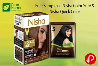 PremHenna offers Free Sample of Nisha Color Sure & Nisha Quick Color. Just fill the details and grab the sample. GET YOUR FREE SAMPLE NOW. Prem Henna we ensure complete transparency and customer satisfaction. And understand that before using the product, a customer needs to test and check the product.  http://www.paisebachaoindia.com/free-sample-of-nisha-color-sure-nisha-quick-color-premhenna/