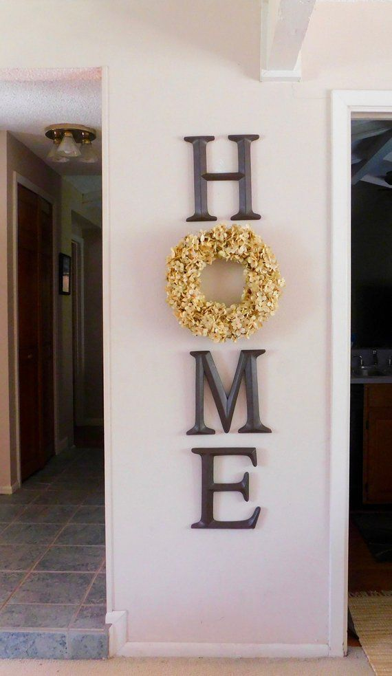 Home Letters Home Sign Home Letters With Wreath Farmhouse Home Sign Home With Wreath Vertical H Farm House Living Room Living Decor Home Living Room