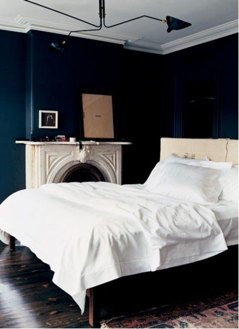 I love love love dark navy blue walls with white or light for Dark walls white furniture