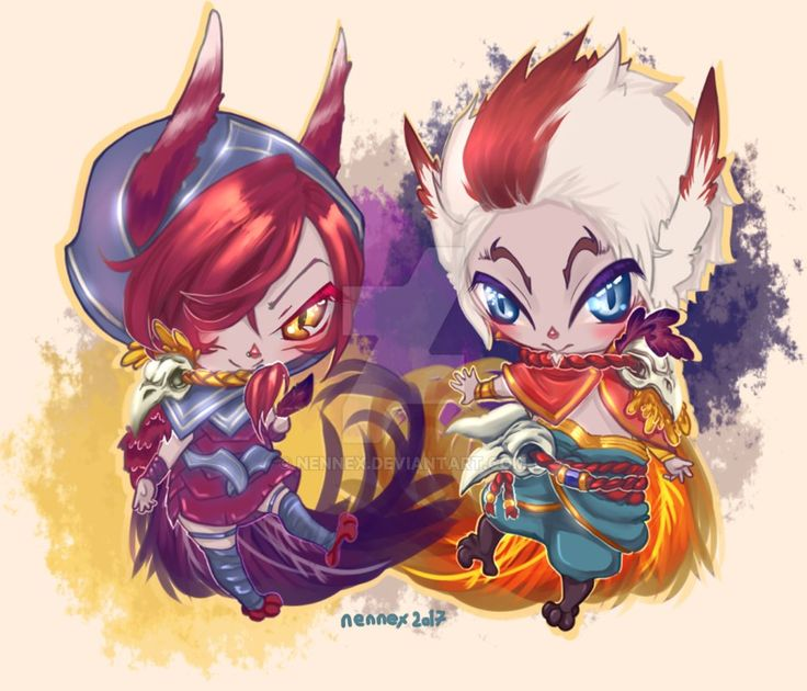 {FA} Xayah And Rakan by nennex.deviantart.com on @DeviantArt