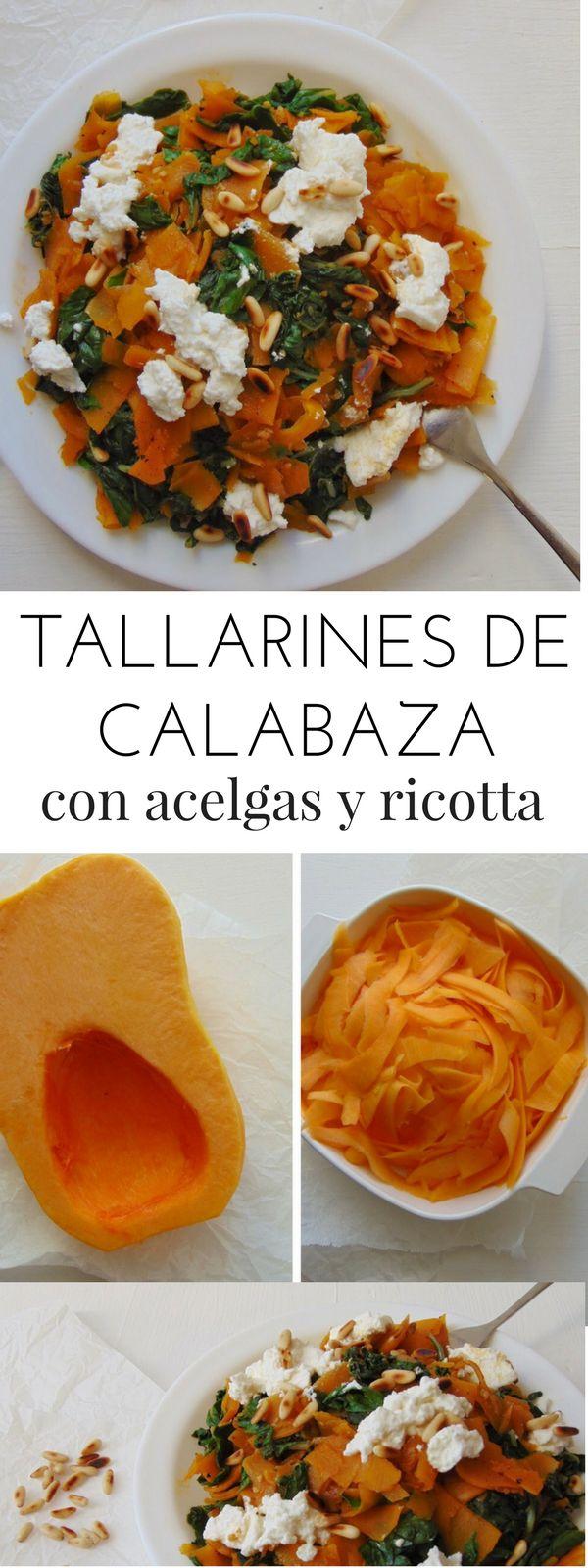 Tallarines de calabaza con acelgas y ricotta | Receta fácil y saludable paso a paso | Alternativa a la pasta | Tasty details