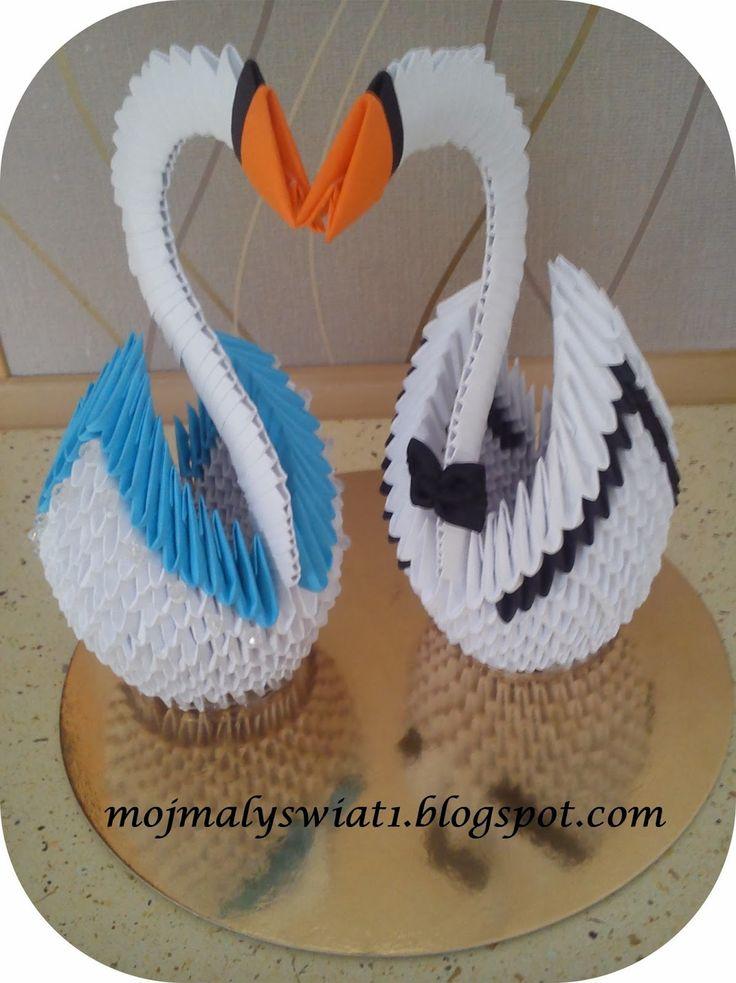 Para łabędzi prezent na ślub - origami modułowe - 3D - Mama-Kreatywna