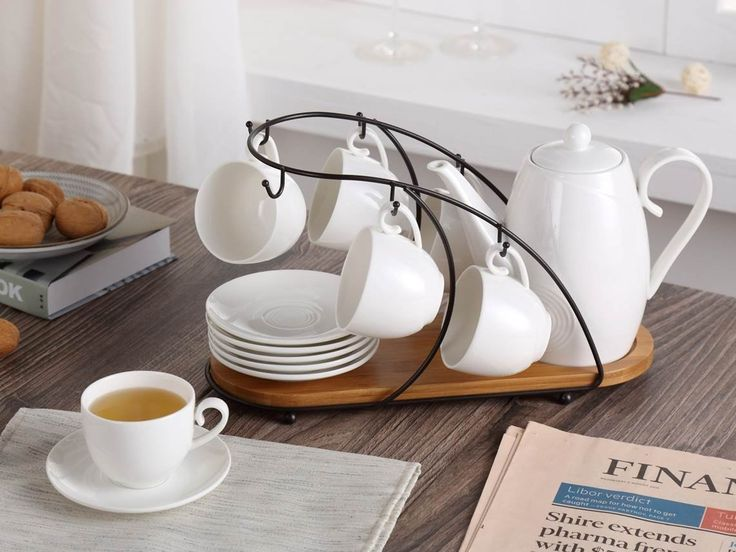 Amazon.com | Ceramic Tea Cup Set, including 6 pcs Tea Cup and Saucer with 1 teapot Bamboo Rack, for Home and Office Coffee Teaparty by Pukka Home (Service for 6 (5 oz)): Cup & Saucer Sets
