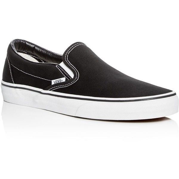 Vans Classic Slip On Sneakers ($50) ❤ liked on Polyvore featuring men's fashion, men's shoes, men's sneakers, black, mens black slip on sneakers, mens black slip on shoes, mens slip on sneakers, mens black sneakers and mens slip on shoes