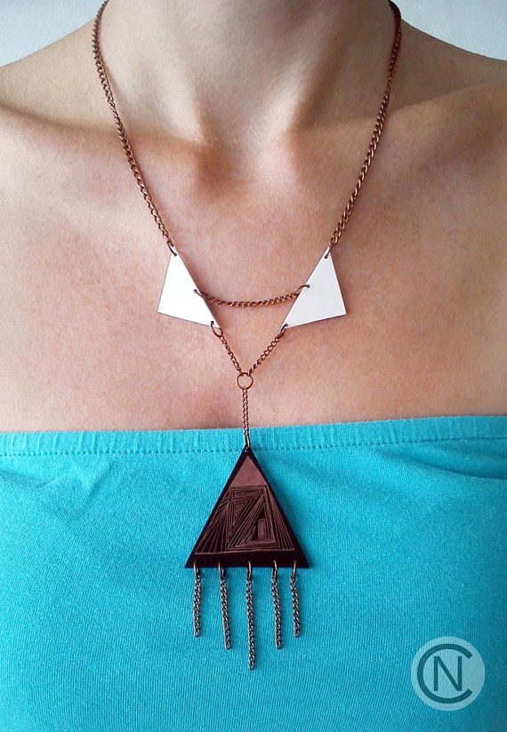 Handmade necklace with three triangle shrink plastic by NinaCamisi