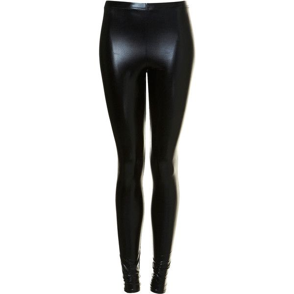 TOPSHOP Shiny Wetlook Leggings featuring polyvore women's fashion clothing pants leggings bottoms trousers jeans black wet look pants shiny pants legging pants shiny leggings topshop pants