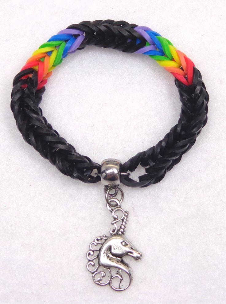 Black Rainbow Unicorn Bracelet Made With Rainbow Loom