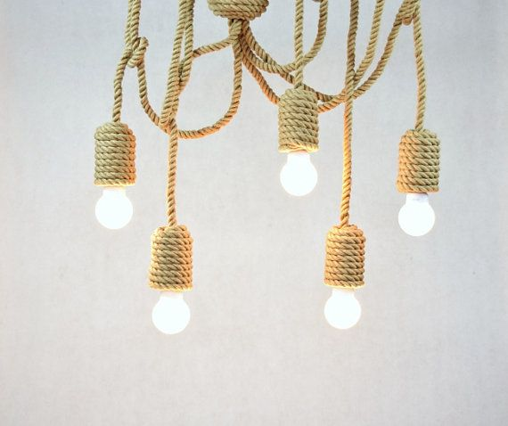 "Jute long chandelier, pendant light, made from sailing rope, 200cm (~80""), 5 light bulbs, nautical, hanging light, beach house, loft, marine"