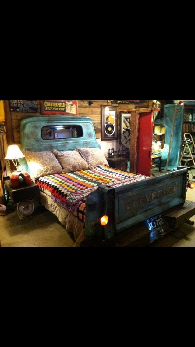 Truck Bed Bedroom: 10 Best Old Truck And Car Parts Repurposed Images On