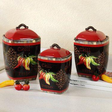 Chili Pepper Kitchen Canister Set
