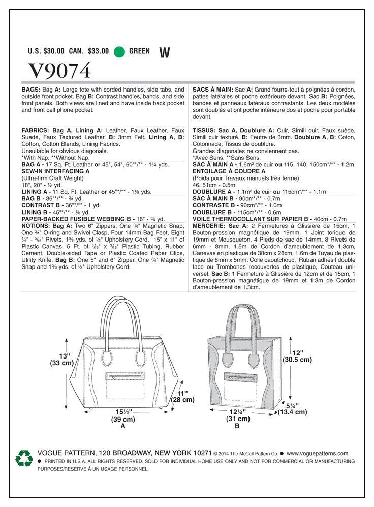 Vogue - 9074 Tas  | Naaipatronen.nl | zelfmaakmode patroon online