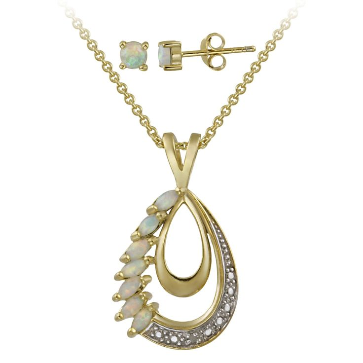 overstock jewelry | ... Rocks Gold over Silver Created Opal and Diamond Accent Jewelry Set