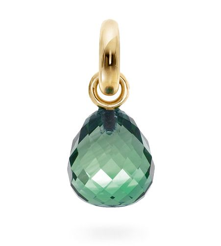 Ole Lynggaard Copenhagen Sweet Drop charm Green Quartz faceted on 18ct yellow gold - Kennedy Jewellers