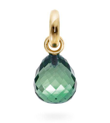Ole Lynggaard Copenhagen Sweet Drop charm Green Quartz faceted on 18ct yellow gold - Kennedy Jewellers