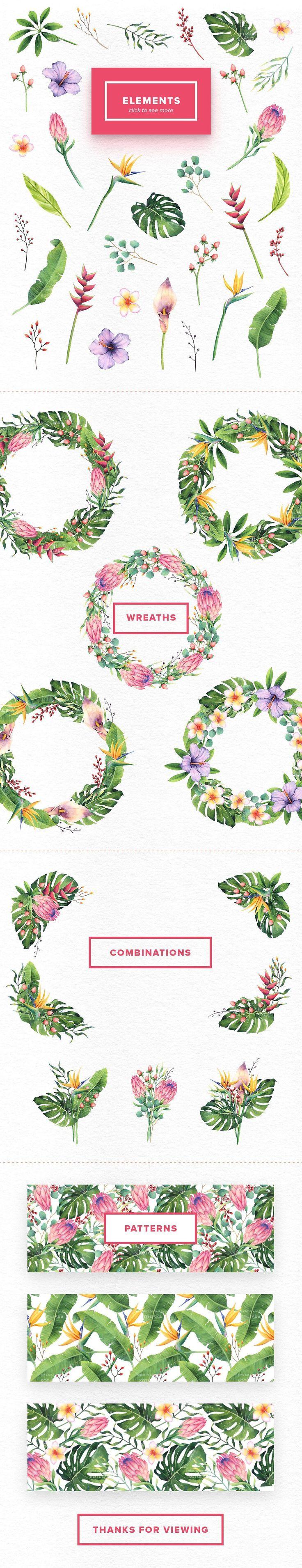 Watercolor Tropical Flowers Set by Kotulska on @creativemarket