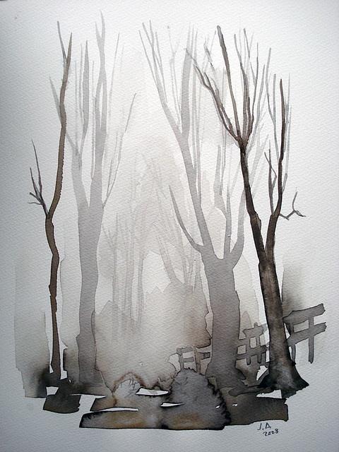 Brume en forêt (aquarelle) by deneux_jacques
