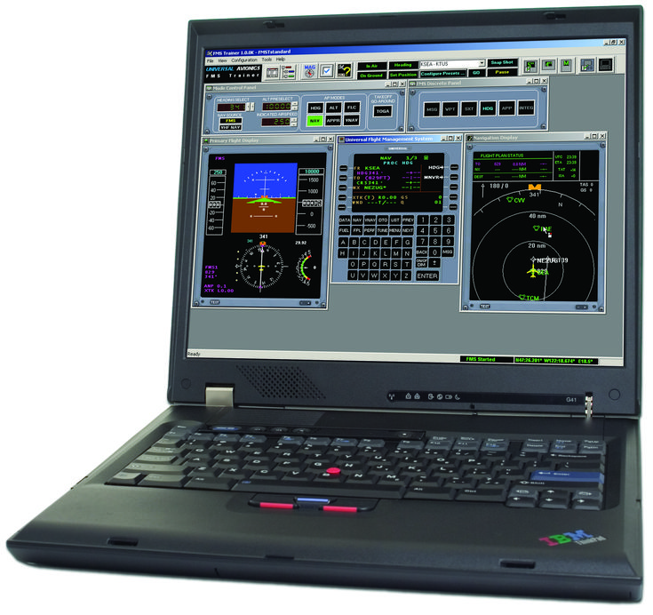 Universal Avionics' Flight Management System Trainer (FMST) is a PC hosted Windows© application designed for operational training of the Universal FMS. The FMST consists of an FMS simulation running actual production software. The FMST contains functionality to simulate flight, generic flight deck instrumentation, autopilot and avionics sensors.