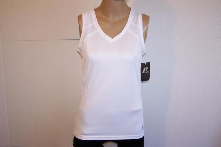 RUSSELL Athletic shirt Top Sz M Stretch Power Work Out Gym White Sleeveless NWT #Russell #ShirtsTops