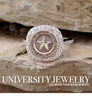 University of Mary Hardin Baylor class seal ring. Made by the talented jewelers of University Jewelry at San Jose Jewelers.