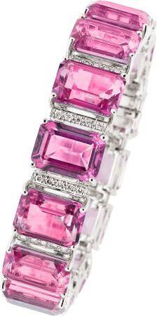 Pink Topaz, Diamond, White Gold Bracelet. ... Estate