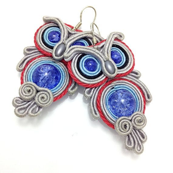 Outstanding earrings made in a soutache technique.   * material : satin cords, beads, * hooks : 925 Sterling Silver  * reversible  * total length