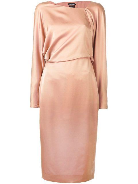 Shop Tom Ford asymmetric neckline dress.