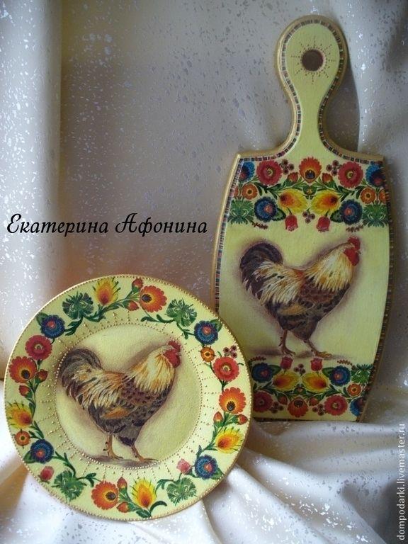 """Купить Набор """"Деловой петушок"""" - жёлтый, доска для кухни, разделочная доска, декор дома"""