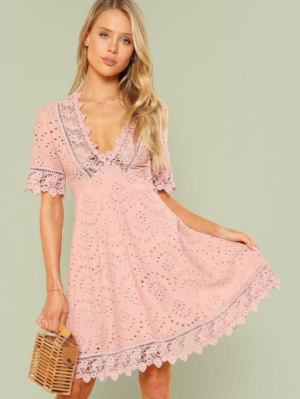 9cb409c66a Lace Trim Eyelet Embroidered Dress -SheIn(Sheinside)   :: >> Just ...