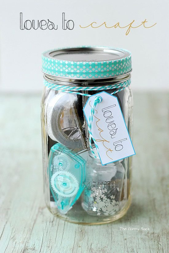 Loves To Craft Jar – get your DIY happy friend a jar full of basic crafting necessities.