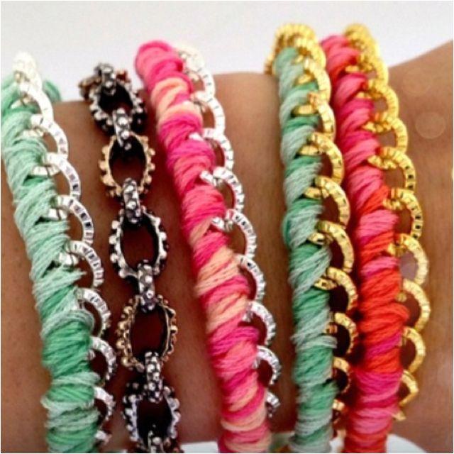 DIY thread wrapped bracelets.: Diy Thread, Idea, Wraps Bracelets, Chains Bracelets, Diy Crafts, Diy Jewelry, Diy Bracelets, Thread Wraps, Accessories