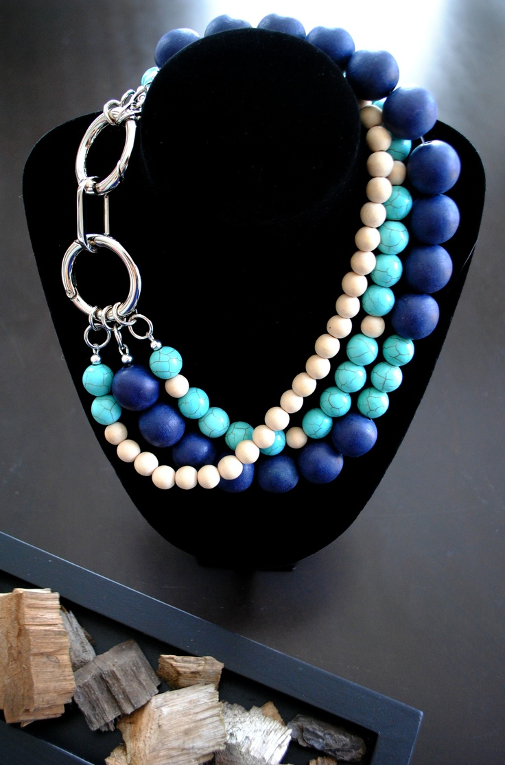 Multi-strand wooden and turquoise chunky necklace with large link clasp.