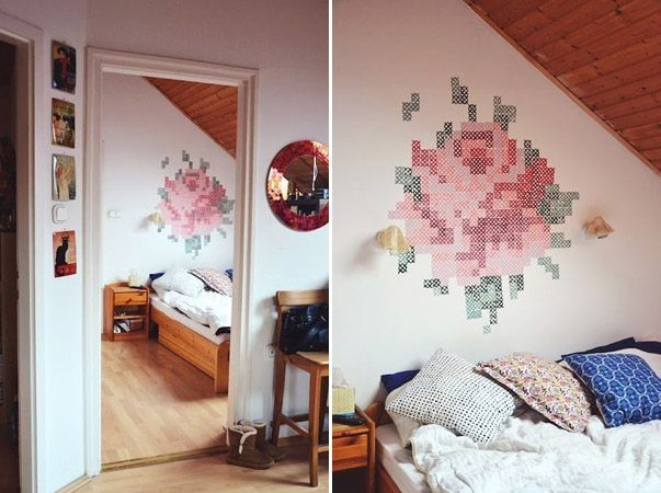 DIY Floral Wall Paint Embroidery Cross-stitch