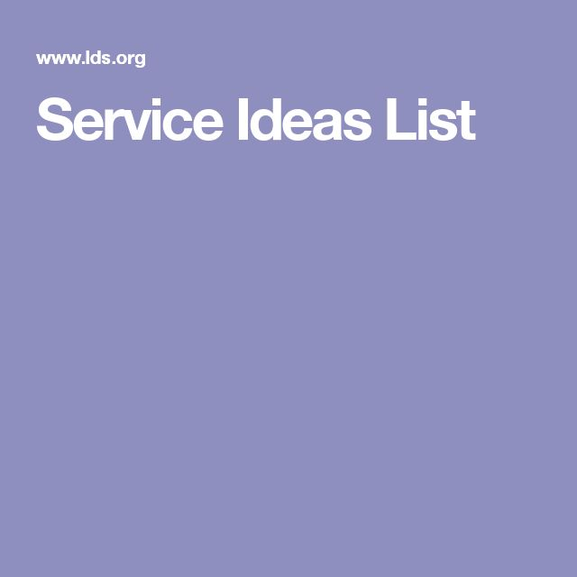 Service Ideas List