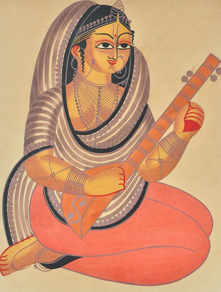 """Playing Veena - 2ft 2in x 1ft 7in -- Ink & Water Color, Paper -- Kalighat painting is a style of painting characterized by generously curving figures of both men & women in mocking style, nouveau rich families targeted by the orthodox society, the so called """"babus"""" considered objects of fun & sources of income."""
