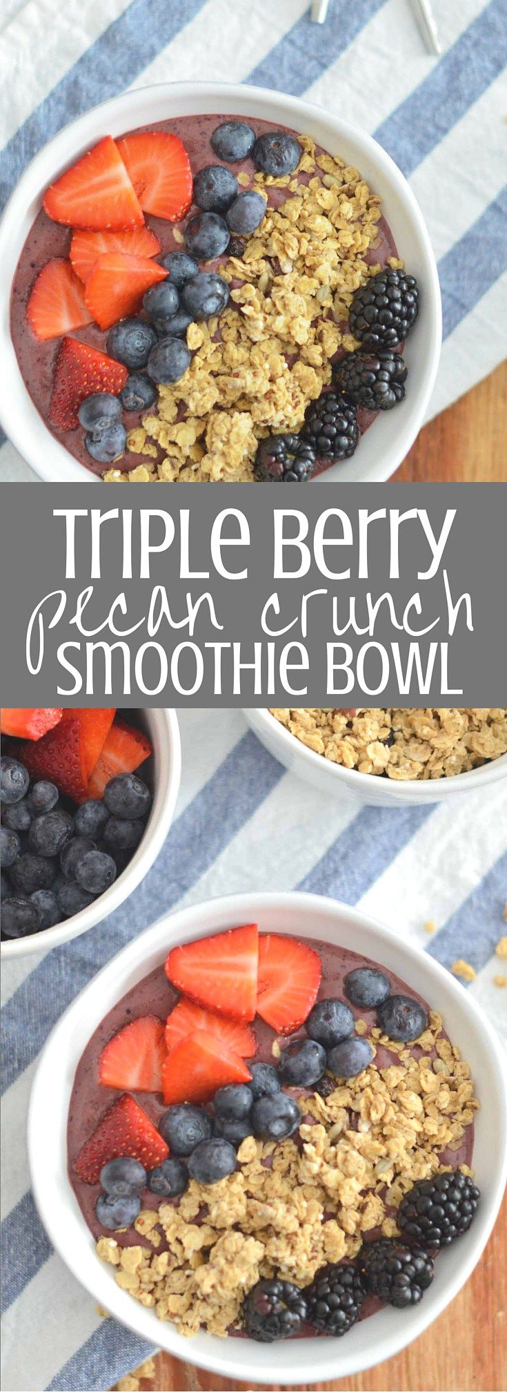 Triple Berry Pecan Crunch Smoothie Bowl is packed with fruit and spinach and topped with crunchy delicious Quaker® Real Medleys SuperGrains Blueberry Pecan Granola. This smoothie bowl is a healthy and satisfying start to the day! Clickthrough for the full recipe and pin for later! #GranolaMyWay #ad