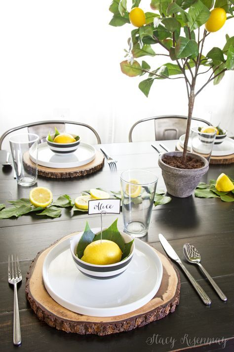 Lemon table setting. I love the faux lemon tree! | Stacy Risenmay Sponsored by Balsam Hill
