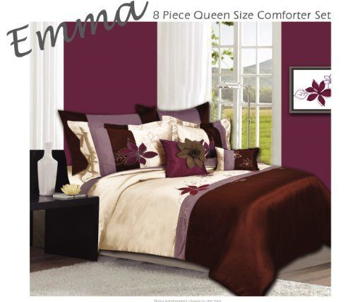 Eden 8-Piece Oversized King Comforter Set, Berry Brown by Home Collection. $78.99. Featuring flowers expertly embroidered in a painterly style on a blocked base with a beautiful array of colors, berry brown, cream, lavender.. The Eden bedding is a light, airy style that will brighten the atmosphere of your bedroom.. A whimsical ensemble with a graceful, European style, the Eden collection is an elegant addition to any decor.. Comforter Set includes: 1 Comforter, 1 Bed Ski...