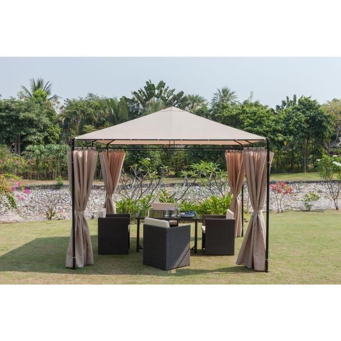 Tonnelle de jardin 3x3 m - Structure en acier - Dimensions : 300x300 cm - Pieds : 38x0,7 mm - Coloris : beige.