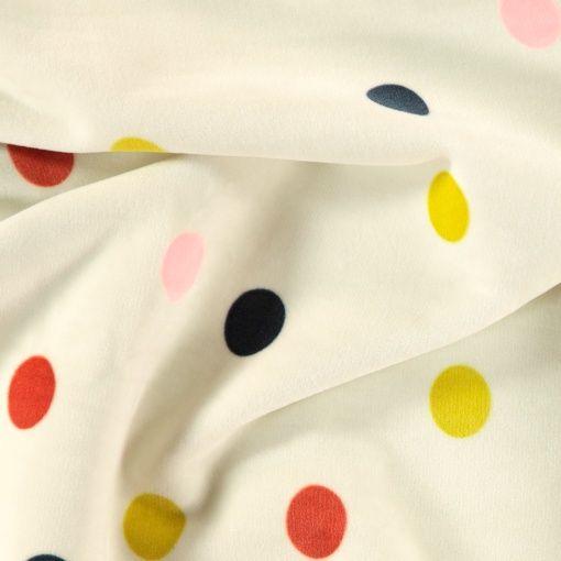 Micro fleece sand w multi colour dots - Stoff & Stil